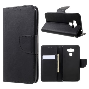 Stone Grain Leather Stand Wallet Phone Casing for Asus Zenfone 3 Max ZC553KL - Black