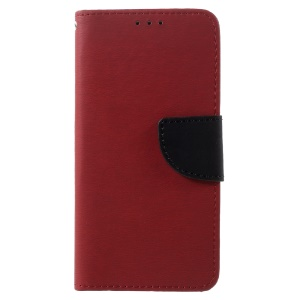 Stone Skin Flip Leather Stand Case with Card Slots for Asus Zenfone 3 Max ZC553KL - Red