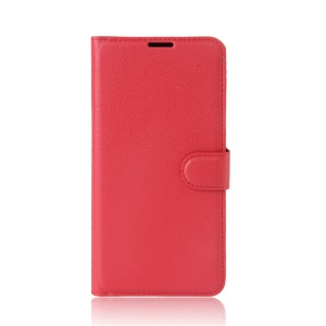 Litchi Grain PU Leather Wallet Shell for Asus Zenfone 3 Zoom ZE553KL - Red
