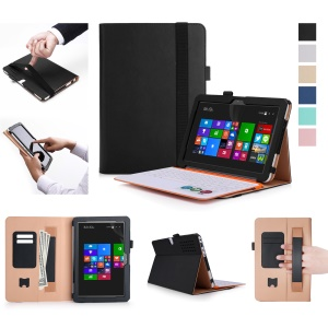 Business Style Leather Wallet Protector Case with Elastic Band for Asus Transformer Mini T102HA - Black