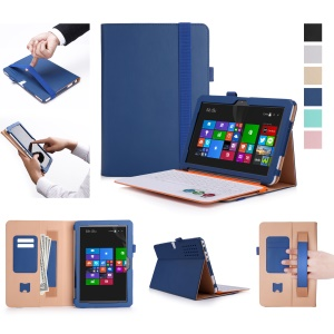 Business Style Wallet Leather Stand Case with Elastic Band and Pen Holder for Asus Transformer Mini T102HA - Blue