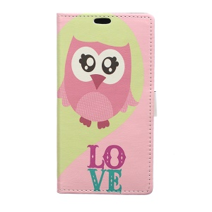 Patterned PU Leather Wallet Cover for Asus Zenfone Live ZB501KL - Owl and Love Word