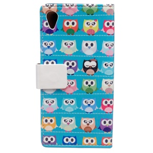 Printing Pattern Leather Wallet Shell for Asus Zenfone Live ZB501KL - Multiple Colorful Owls