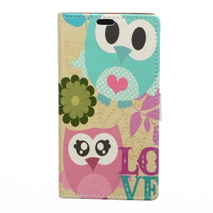 Patterned Leather Wallet Phone Case for Asus Zenfone Live ZB501KL - Owl Lovers