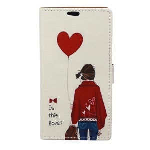 Patterned PU Leather Case for Asus Zenfone Live ZB501KL - Girl Holding Heart Balloon