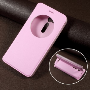 View Window Stand Leather Flip Cell Phone Case for Asus Zenfone Go ZB500KL - Pink