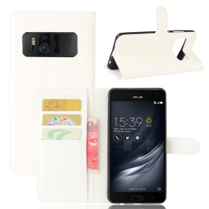 Litchi Skin Wallet Leather Stand Cover for Asus Zenfone AR ZS571KL - White