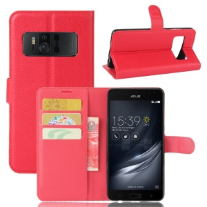 Litchi Skin Wallet Leather Phone Case for Asus Zenfone AR ZS571KL - Red
