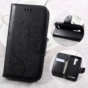 Flower Butterfly Imprinted Leather Case with Lanyard for Asus Zenfone Go ZB500KL - Black
