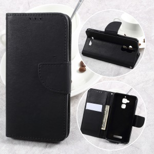 Pebble Grain Wallet Stand Leather Cell Phone Case for Asus Zenfone 3 Max ZC520TL - Black
