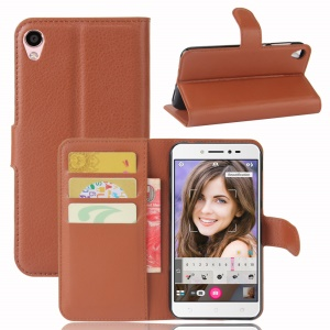 Litchi Skin Leather Wallet Case Accessory for Asus Zenfone Live ZB501KL - Brown