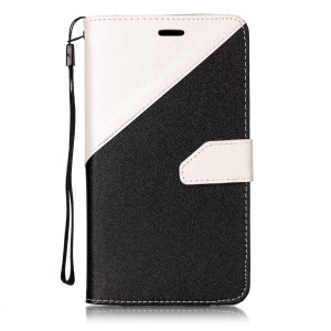 Sand-like Grain Bi-Color Leather Wallet Protective Cover for Asus Zenfone 3 ZE552KL - White