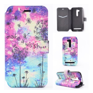 Pattern Printing Leather Stand Case for Asus Zenfone Go ZB500KL - Dandelion and Quote