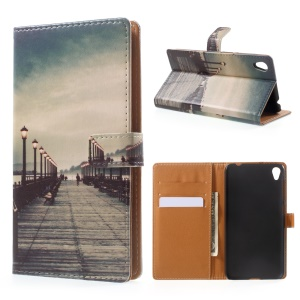 Pattern Printing Leather Wallet Case for Asus Zenfone Live ZB501KL - Dock at Sunset