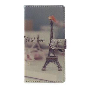 Pattern Printing Leather Wallet Cover for Asus Zenfone Live ZB501KL - Eiffel Tower and Mustache