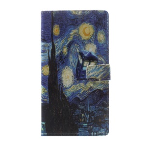 Pattern Printing Leather Wallet Case Cover for Asus Zenfone Live ZB501KL - Oil Painting