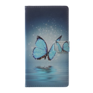 Pattern Printing Stand Leather Wallet Case for Asus Zenfone Live ZB501KL - Blue Butterfly