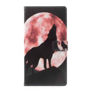 Pattern Printing Leather Card Holder Case for Asus Zenfone Live ZB501KL - Wolf Howling at the Moon