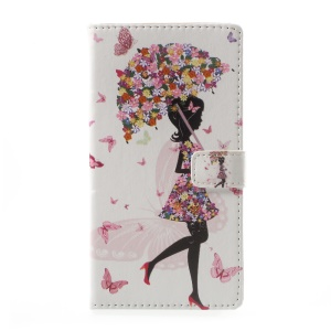Pattern Printing Magnetic Leather Stand Case for Asus Zenfone Live ZB501KL - Flowered Girl Holding Umbrella
