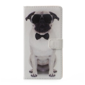 Pattern Printing Magnetic Leather Stand Cover for Asus Zenfone Live ZB501KL - Dog Wearing Sunglasses