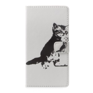 Pattern Printing Wallet Leather Cell Phone Case for Asus Zenfone Live ZB501KL - Black and White Cat