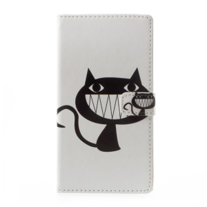 Pattern Printing Wallet Leather Protection Case for Asus Zenfone Live ZB501KL - Black Cat