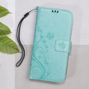 Imprint Butterfly Flower Magnetic Leather Wallet Case for Asus Zenfone Go ZB500KL - Cyan