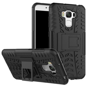 For Asus Zenfone 3 Max ZC553KL Tyre Pattern Kickstand PC + TPU Combo Cover - Black