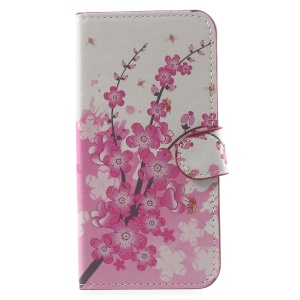 For Asus Zenfone Go ZB500KL Patterned Wallet Leather Stand Protector Case - Plum Blossom