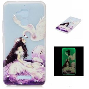 Diamond Embossment Luminous TPU Case for Asus Zenfone 3 Max ZC520TL - Pretty Girl and White Swan