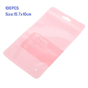 100Pcs/Lot Zip Lock Retail Packing Bags, Size: 15.7 x 10cm - Pink