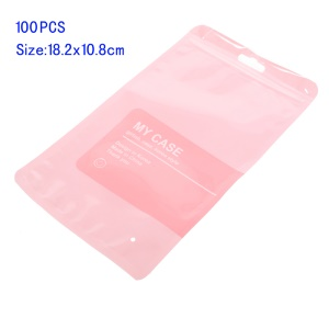 100Pcs/Lot Zip Lock Retail Packing Bags, Size: 18.2 x 10.8cm - Pink