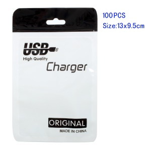 100Pcs/Lot Zip Lock Package Bag for USB Charging Cable, Size: 13 x 9.5cm - Black