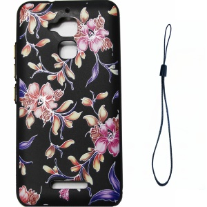 Rubberized Embossing Pattern Printing TPU Soft Case for Asus Zenfone 3 Max ZC520TL - Peonies