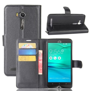 Litchi Skin Wallet Leather Stand Case for Asus Zenfone Go ZB552KL - Black