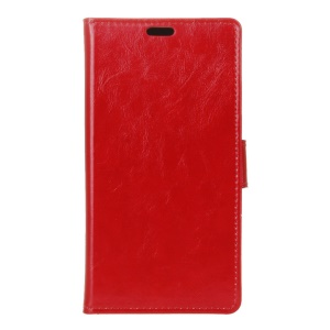 Crazy Horse Leather Wallet Cover Shell for Asus Zenfone Go ZB552KL - Red