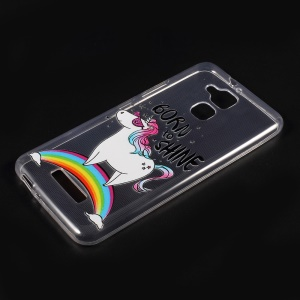 For Asus Zenfone 3 Max ZC520TL Embossed Pattern TPU Cell Phone Casing Shell - Unicorn on the Rainbow