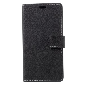 Cross Pattern Leather Wallet Phone Cover for Asus Zenfone4 MAX ZC554KL - Black