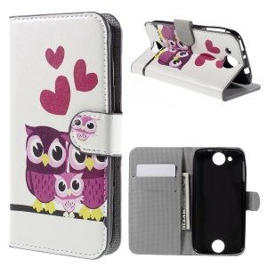 PU Leather Card Holder Case for Acer Liquid Jade Z - Adorable Owls and Hearts