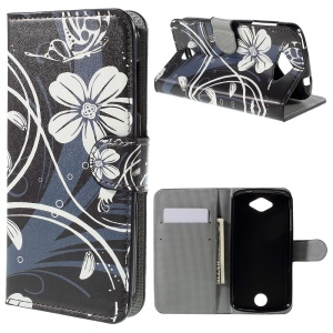 Wallet Leather Stand Case for Acer Liquid Z530 Z530S - White Flowers