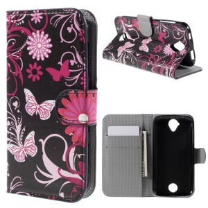 Wallet Leather Stand Case for Acer Liquid Z330 Z320 M320 M330 - Butterfly Flowers