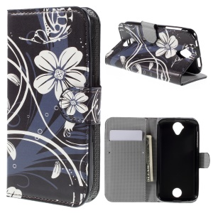 Wallet Leather Stand Cover for Acer Liquid Z330 Z320 M320 M330 - White Flowers