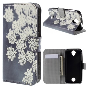Magnetic Leather Stand Case for Acer Liquid Z330 - Blooming Flowers