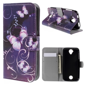 Wallet Leather Stand Cover for Acer Liquid Z330 - Purple Butterfly