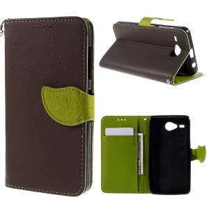 Leaf Shape Magnetic Flap Wallet Leather Stand Cover for Acer Liquid Z520 - Brown