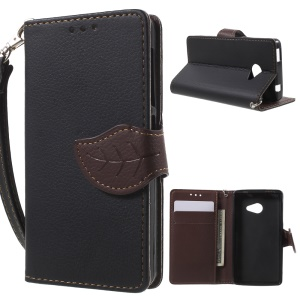 Leaf-shaped Magnetic Wallet Stand Leather Case for Acer Liquid Z220 - Black
