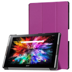 Tri-fold Stand Leather Tablet Flip Case for Acer Iconia One 10 A3-A50 - Purple