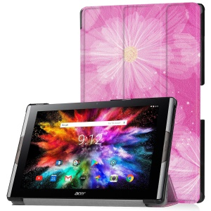 Pattern Printing Leather Tri-fold Stand Tablet Case for Acer Iconia One 10 A3-A50 - Pink Flower