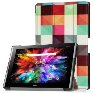 Pattern Printing Leather Tri-fold Stand Tablet Protective Case for Acer Iconia One 10 A3-A50 - Grids