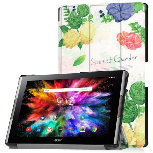 Pattern Printing Leather Tri-fold Stand Tablet Protective Cover for Acer Iconia One 10 A3-A50 - Sweet Garden